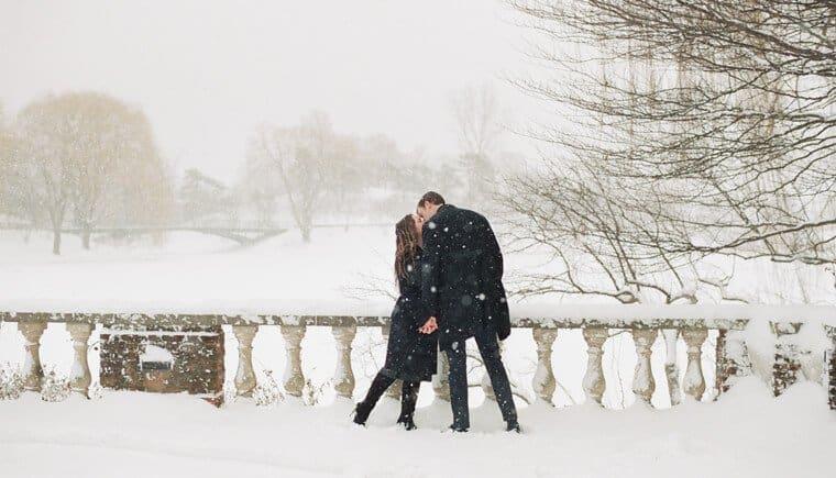 Eine romantische Winterverlobung im Chicago Botanic Garden